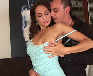 Hot honey with lovely tits melon ravages her boyfriends stiffy and gets drilled from behind