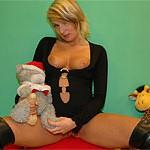 Teen honey tears up a plush toy